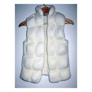 Vintage 1970s Knit Puffer Sweater Vest Cream S